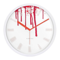 """JustNile - JustNile Halloween 13"""" Non-Ticking Silent Wall Clock, Blood Drip W/ Red Hands - Making your house scary for Halloween is arguably the most fun you can have decorating. Complement this year's decor with this 13"""" festive wall clock. The clock has a sweeping, silent movement so there's no maddening ticking. One AA battery required (not included)."""