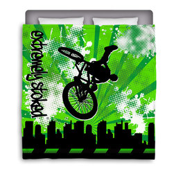 Eco Friendly Made In USA BMX Full/Queen Comforter - Get Extremely Stoked and Dream In Extreme With This Full/Queen Premium Comforter From Our BMX Bedding  and Bath Collection.