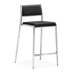 ZUO MODERN - Dolemite Counter Chair Black (set of 2) - Stand out with our Dolemite counter chair. The sleek design comes in black or white leatherette on a stainless steel base.