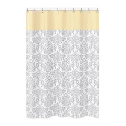 Sweet Jojo Designs - Sweet Jojo Designs  Avery Gray & Yellow Kid's Shower Curtain - Create an easy bathroom makeover with this Sweet Jojo Designs shower curtain featuring elegant damask detailing. Add a touch of style and a splash of color to your bathroom with this designer collection.