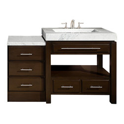 Silkroad Exclusive - 56 in. Single Sink Bathroom Vanity - Integrated carrara white marble stone sink. Comes with carrara white marble stone countertop. Faucet not included. Hand finished. Two modular units. Six drawers with soft close slides. Open back for plumbing installation. Brushed nickel hardware. Pre drilled for three hole. 8 in. widespread faucet. CARB Ph2 certified panels. Made from natural stone and solid wood. Dark walnut finish. No assembly required. 56 in. W x 23 in. D x 36 in. H (309 lbs.)A unique sophisticated integrated sink with a simple free flow design that will give any bathroom a spa like feel. Capturing the timeless beauty of natural stone countertop and simple yet elegant cabinetry.