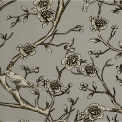 Vintage Blossom Fabric, Dove - DwellStudio's Vintage Blossom fabric is a subtle and grown-up way to bring florals into your home.
