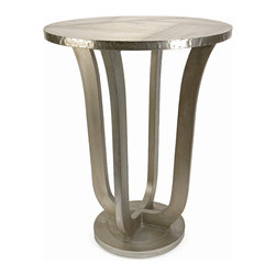 iMax - Jensen Aluminum Clad Table - The Jensen aluminum clad table is quite an extraordinary mix of aluminum sheets and miniature nail head details reminiscent of aviation style manufacturing.
