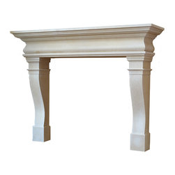Distinctive Mantel Designs - Augusta Mantel, Sahara, 72 - Elegant and refined without any unnecessary ornamentation, the Augusta mantel is the epitome of transitional design.  The broad sweep of the shelf transitions smoothly into the stacked ledges and gentle curves of the legs.  Versatile enough to complement many different decors, the Augusta mantel is perfect for any transitional space.
