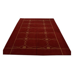 Modern Nepali Rug, 5'X7' Wool & Silk Hand Knotted Rich Red Oriental Rug SH12136 - Our Modern & Contemporary Rug Collections are directly imported out of India & China.  The designs range from, solid, striped, geometric, modern, and abstract.  The color schemes range from very soft to very vibrant.