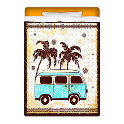 """Surfer Bedding - Eco Friendly """"Vintage Surf Bus"""" XL Dorm Room Twin Sheet Set - Surfer Bedding Twin XL Dorm Room Size Sheet Set Includes 1 XL Top Sheet, 1 XL Fitted Sheet and 1 Standard Pillow Case."""