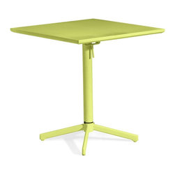 Zuo Modern - Square Table in Lime - Durable and fits for all climate. Folds up for ease of storage. Warranty: One year limited. Made from epoxy coated steel. Assembly required. 27.6 in. W x 27.6 in. D x 29.5 in. H (35 lbs.)Add color to any outdoor space with the Big Wave folding table.