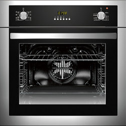 "Cosmo - 24"" Stainless Steel Wall Oven - A small kitchen can still have big style with the 24"" Cosmo 5-Function Built-In Oven. The smaller cavity dimensions fit any kitchen design and reduces energy consumption while still providing ample space to prepare your meals with efficiency and ease. With its classic brushed stainless steel finish, this built-in oven is designed to perform as well as it looks. The cool-touch door protects you and your family from high temperatures while cooking. The auto safety switch off feature also prevents any harmful accidents."