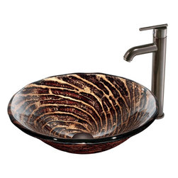 Vigo - Caramel Vessel Sink in Chocolate Swirl with Oil Rubbed Bronze Faucet - The VIGO Caramel Above The Counter Round Tempered Glass Vessel Sink in Chocolate Swirl brings an charming warmth to your home. Coupled with an oil-rubbed bronze faucet, this sink brings elegance into your bathroom.