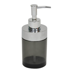 Acrylic Soap Dispenser with Chrome Part Grey - This soap dispenser for bathrooms is in grey acrylic with chrome parts and will add a modern look and feel to your decor. This round soap dispenser is a lovely accent for any bathroom and will be a treasured addition to any bathroom. Diameter of 2.17-Inch and a height of 6.69-Inch. The top has a shiny chrome-plated opening to unscrew for refilling with soap or lotion. Wipe clean with soapy water. Color grey. Accessorize your bathroom countertop in a trendy style with this charming soap dispenser! Complete your decoration with other products of the same collection. Imported.