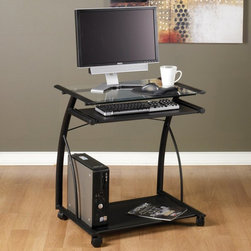 Calico Designs - Calico Designs L Computer Cart - Black/Clear Glass - 50100 - Shop for Carts and Stands from Hayneedle.com! Add a sharp new look to your decor with the Studio Designs L Computer Cart - Black/Clear Glass. This computer cart and table combination features powder coated steel and tempered safety glass that will look great in a wide range of decor settings. The 23-inch by 18.75-inch work surface is complemented by a separate 22.5-inch by 11-inch keyboard tray leaving you with plenty of space for papers books and supplies. About Studio Designs OfficeStudio Designs has 24 years of experience in the ready-to-assemble Arts and Crafts Furniture and Easel industry. They seek to inspire artists young and old through the simplicity and utility of their designs. They are based in Commerce California.