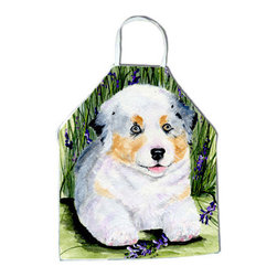 Caroline's Treasures - Australian Shepherd Apron SS8005APRON - Apron, Bib Style, 27 in H x 31 in W; 100 percent  Ultra Spun Poly, White, braided nylon tie straps, sewn cloth neckband. These bib style aprons are not just for cooking - they are also great for cleaning, gardening, art projects, and other activities, too!