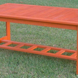 International Caravan - Hannon Outdoor Patio 2 Tier Wood Coffee Table - Complete weatherproof protection and UV light protection. Great for any patio set as a patio coffee table. Very heavy and durable. Can be adjusted to several positions. Made from premium balau hardwood. Stain finish. Assembly required. 39.4 in. L x 19.7 in. W x 17.8 in. H