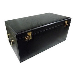 Morelle - Elizabeth Large Leather Illuminated Box, Black. - Store your entire collection of jewelry inside this luxurious leather jewelry chest. With its sixteen separate drawers and oodles of compartments, you are sure to find a special niche for each one of your jewelry collectables and trinkets. Includes a generously sized jewelry roll for your travel convenience. A lovely mirror and pocket on the inside lid adds a touch of sophistication. Behold this majestic jewelry box. Upon opening its lid a wonderful surprise awaits you. Newly patented stage like LED lighting will illuminate your jewels, and make them sparkle.