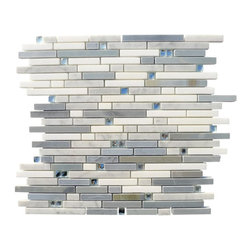 "Enchanted Folk Stone Marble And Glass Tile - Enchanted Folk Stone Marble and Glass Tile This beautiful marble and glass mosaic with its blend of white thassos, moonstone, white carrera and mirror glass leaves the room with a contemporary and modern feeling. The mesh backing not only simplifies installation, it also allows the tiles to be separated which adds to their design flexibility. Chip Size: 3/8"" x Random Color: White Thassos, Moonstone, White Carrera and Mirror Material: Mirror Glass and Stone Finish: Polished Sold by the Sheet- each sheet measures 11.25""x11.75"" (0.92 sq.ft.) Thickness: 10 mm Please note each lot will vary from the next."