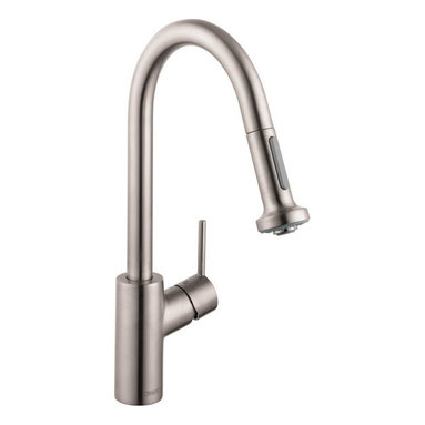 Hansgrohe - Hansgrohe Talis S Dual-Spray High Arc Pull-Down Kitchen Faucet, Steel Optik - Hansgrohe 14877801 Talis S Dual-Spray High Arc Pull-Down Kitchen Faucet, Steel Optik