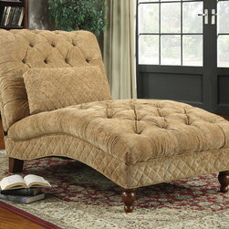 Coaster - 902077 Chaise - Lounge in style on this golden sand chaise wrapped in an ultra plush chenille fabric. Featuring a rolled back, deep button tufting and turned legs, this accent piece is sure to create an elegant look in your room. Accent pillow included.; Dimensions: 61.00''L x 38.50''W x 39.50''H