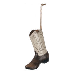 Western Christmas Boot Ornament - Greetings Pardner! We've got our best out West galloping across this tree. This detailed Western Cowboy Boot Ornament is a must for your wild, wild Western Christmas tree!