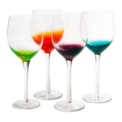 "Contemporary Colorful Glass - Set of 4 - Wine is an almost mystic marriage between nature and art. Capture that same magic with these artful glasses. Each set of four comes in an assortment of vibrant, bubble-filled hues (lime, tangerine, grape, and aqua) that seem to rise and fade. The result is an optical illusion that complements, not complicates, the color of the wine. Your guests will declare them ""Sophisticated and bold, yet with a delightfully fruity whimsy."""