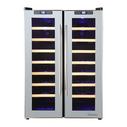 Vinotemp - 48-Bottle Mirrored Dual-Zone Wine Cooler - Beautiful wine cooler with mirrored trim. Freestanding installation only. Sturdy black metal cabinet with dual-pane glass door. Modern pole handles. Durable wood racking holds bottles in place. Soft-glowing interior LED lighting. Temperature range: left zone 46-65���F/right zone 46-65���F. Capacity: approximately 48 standard wine bottles. 23.4 in. W x 23.4 in. D x 33.2 in. H (86 lbs)The sleek 48-Bottle Dual-Zone Mirrored Wine Cooler allows you to accurately control the temperature of your wine with two independent temperature controlled zones for red and white wine. A quiet thermo-electric cooling system protects your bottles from unnecessary vibration. Thermoelectric cooling is not only good for your valuable wine collection but also for the environment. Using absolutely no ozone depleting chemicals such as CFCs or HCFCs you will be sure that you are doing your part to preserve the environment. This state of the art cooler features dual-pane glass windows, a technology that has been proven in the construction industry. They have better insulation properties, better UV protection, and are easier to clean. This energy efficiency will lead to less electricity usage and savings in energy bills throughout the years. This cooler features a black cabinet, mirrored trim doors, and elegant pole handles, making it a must-have for the wine lover with an eye for style!