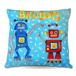 DiaNoche Designs - Pillow Woven Poplin - Brobots - Toss this decorative pillow on any bed, sofa or chair, and add personality to your chic and stylish decor. Lay your head against your new art and relax! Made of woven Poly-Poplin.  Includes a cushy supportive pillow insert, zipped inside. Dye Sublimation printing adheres the ink to the material for long life and durability. Double Sided Print, Machine Washable, Product may vary slightly from image.