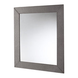 Gedy - Vertical or Horizontal Mirror with Old Silver Faux Leather Frame - Imported from and manufactured in Italy by Gedy, this trendy vanity mirror works well in contemporary & modern bathrooms.