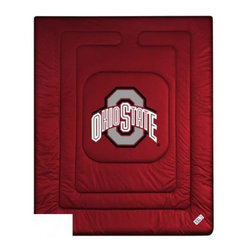 Sports Coverage - Ohio State Buckeyes Bedding - NCAA Comforter - Full - Show your team spirit with this great looking officially licensed Ohio State University Buckeyes comforter. This Buckeyes comforter is made from 100% Polyester Jersey Mesh - just like what the players wear. The fill is 100% Polyester batting for warmth and comfort. Featuring authentic Ohio State Buckeyes team colors, each comforter has the authentic Ohio State University Buckeyes logo screen printed in the center. Soft but durable.  Machine washable in cold water. Tumble dry in low heat. Covers are 100% Polyester Jersey top side and Poly/Cotton bottom side. Each comforter has the team logo centered on solid background in team colors. 5.5 oz. Bonded polyester batts. Looks and feels like a real jersey!