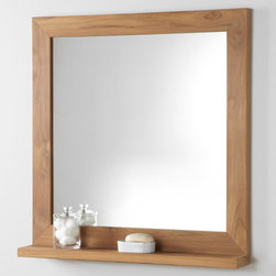 """30"""" Liani Teak Vanity Mirror - The 30"""" Liani Teak Vanity Mirror is made of naturally durable and water-resistant teak wood and offers a convenient shelf for holding toiletries."""