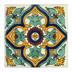 Green Geometric Talavera Tiles, Box of 15