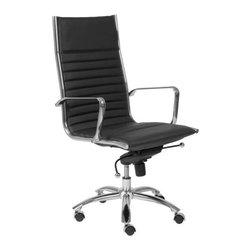 "Eurostyle - Eurostyle Dirk High Back Leatherette Swivel Office Chair in Black - Leatherette Swivel Office Chair in Black belongs to Dirk High Back Collection by Eurostyle Leatherette over foam seat and back. BIFMA approved chromed steel base. Chromed aluminum armrests. Tilt, swivel and gas lift. PU casters with stainless steel hood. Flat bungee band seat construction inside seat. Seat height 18"" ��_��_��_ 21"". More colors. Office Chair (1)"