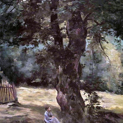 "Gustave Caillebotte Woman Seated Under a Tree  Print - 16"" x 20"" Gustave Caillebotte Woman Seated Under a Tree premium archival print reproduced to meet museum quality standards. Our museum quality archival prints are produced using high-precision print technology for a more accurate reproduction printed on high quality, heavyweight matte presentation paper with fade-resistant, archival inks. Our progressive business model allows us to offer works of art to you at the best wholesale pricing, significantly less than art gallery prices, affordable to all. This line of artwork is produced with extra white border space (if you choose to have it framed, for your framer to work with to frame properly or utilize a larger mat and/or frame).  We present a comprehensive collection of exceptional art reproductions byGustave Caillebotte."