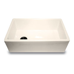 "Nantucket Sinks - Nantucket Sink 30""  Bisque Fireclay Farmhouse Kitchen Sink offset drain - Nantucket Sinks FCFS-30-B is a large single bowl rectangle designed for a"
