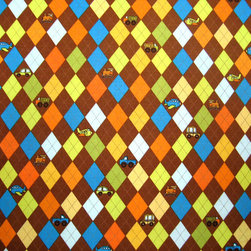 """SheetWorld - SheetWorld Fitted Crib / Toddler Sheet - Argyle Brown Transport - Made in USA - This luxurious 100% cotton """"woven"""" crib / toddler sheet features an argyle print in a beautiful array of colors on a brown background. Our sheets are made of the highest quality fabric that's measured at a 280 tc. That means these sheets are soft and durable. Sheets are made with deep pockets and are elasticized around the entire edge which prevents it from slipping off the mattress, thereby keeping your baby safe. These sheets are so durable that they will last all through your baby's growing years. We're called SheetWorld because we produce the highest grade sheets on the market today. Size: 28 x 52."""