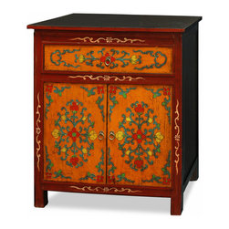 "China Furniture and Arts - Hand Painted Tibetan Cabinet - Decorated with exuberant colors, the exotic Tibetan art of furniture design is manifested in this unique cabinet. The cheerful color represents the personality of Tibetan people who are passionate with life. It contains plenty of interior space for storage with a center compartment measuring 28.25""W x 12""D x 22.5""H and a drawer with interior dimensions of 24.25""W x 13""D x 3.75""H. Made of solid Elmwood, it is hand painted with high attention to detail. Fully assembled."