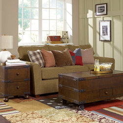 Hammary - Hammary Hidden Treasures 2 Piece Trunk Coffee Table Set - - 090-520-2-SET.  Product features: Belongs to Hidden Treasures Collection by Hammary; 3 Lift Tops w/Storage Underneath; Right Compartment has Wine Storage Compartments for 15 Bottles; Locking Mechanism on Casters. Product includes: Trunk Cocktail (1)                                   ; Trunk End Table (1)                                   . 2 Piece Trunk Coffee Table Set belongs to Hidden Treasures Collection by Hammary.