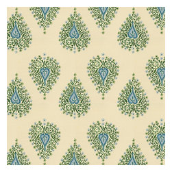 Teal Teardrop Block Print Fabric - Teal & green block print on ivory lightweight cotton.  Whether this motif evokes peacocks or paisleys, it's your very own passage to India.Recover your chair. Upholster a wall. Create a framed piece of art. Sew your own home accent. Whatever your decorating project, Loom's gorgeous, designer fabrics by the yard are up to the challenge!