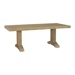 """Palecek - Jeffrey Alan Marks Collection Madison Dining Table - The Jeffrey Alan Marks Collection Madison dining table reflects organic modernity. Bold and rustic, the furnishing's contemporary silhouette showcases clean lines and sturdy sophistication. 82.75""""W x 39""""D x 30""""H; Gray wash finish"""