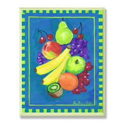 Stupell Industries - Kiwi Fruit Blue and Green Kitchen Wall Plaque - Made in USA. Ready for Hanging. Hand Finished and Original Artwork. No Assembly Required. 15 in L x 0.5 in W x 10 in H (2 lbs.)What better way to add class to your home than with a wall plaque from the Stupell Home Decor Collection? Made in the USA and featuring original artwork,you are sure to find the perfect match for wherever you are looking to design. Each plaque comes mounted on sturdy half inch thick mdf and features hand painted edges.  It also comes with a sawtooth hanger on the back for instant use.