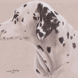 Pet Dalmation Profile - Commissioned black & white charcoal drawing on 9x12 tinted paper by artist Joe Mahley. A pet dalmatian's head  in profile.