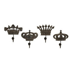 Regent's Crown Hooks - Set of 4 - About IMAXWhat began as a small company importing copper flower containers in 1984 by Al and Faye Bulak has developed into one of the top U.S. import companies serving the At Home market today. IMAX now provides home and garden accessories imported from twelve countries around the world, housed in a 500,000 square foot distribution center. Additional sourcing, product development and showroom facilities in the USA, India and China make IMAX a true global source. They're dedicated to providing products designed to meet your needs. This is achieved through a design and product development team that pushes creativity, taste and fashion trends - layering styles, periods, textures, and regions of the world - to create a visually delightful and meaningful environment. At IMAX, they believe style, integrity, and great design can make living easier.