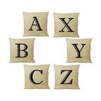 RoomCraft - Customizable Alphabet Throw Pillow Cover Set - 14x14 Natural - FEATURES: