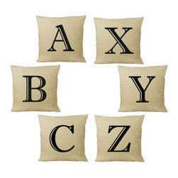 RoomCraft - Customizable Alphabet Throw Pillow Covers, Natural, Set of 2 - FEATURES:
