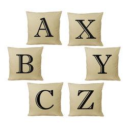 RoomCraft - Customizable Alphabet Throw Pillow Covers, Natural, Set of 2 - FEATURES: