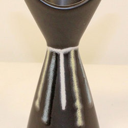 """Soholm Demark Pottery Art Deco Vase - Art deco mid century modern Soholm Denmark Pottery vase from 1956 to the late 1960��_s. The striking shape was designed by Holm S��_rensen while the simplistic decoration is by Svend Aage Jensen.� MINT CONDITION.� No� chips, cracks, damage, or repair of any kind.� Bottom marked with Soholm, Demark 2034, JH and AC.� Vase is 6 1/2"""" tall and 3 1/2"""" wide.�"""