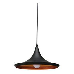 Nuevo Living - Euclid Pendant Lamp - Illuminate your favorite contemporary setting with a true classic. This handsome powder-coated metal fixture features a sleek design and the warm color combo of copper and black.