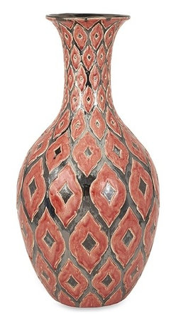 iMax - Azzura Oversized Tall Floor Vase - The tall Azzura oversized floor vase features a warm Moroccan inspired raised pattern with a soft red/orange glazed finish.