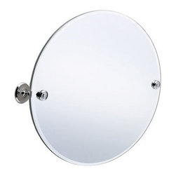 Villa Collection Round Tilting Mirror - The beveled glass edges add a touch of style to this frameless, tilting mirror. The solid brass hardware allows you to tilt the mirror to the desired angle.