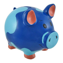 Blue Piggy Coin Savings Bank 6 In. - Having great spending and saving habits is important today`s world. By giving your child a savings bank at a young age, you can begin to teach your child the value of a dollar and can start to encourage a healthy savings habit that he or she can carry on into their adult life. Every parent wants their child to be succesful and financially stable and starting early can bring that parental want into fruition. This savings bank depicts a friendly blue pig who measures 6 inches long, 4 inches wide, and 5 inches tall. This super cute savings bank is made of durable polyresin, is hand painted, and serves as a fun way to teach your child how to save and spend wisely!