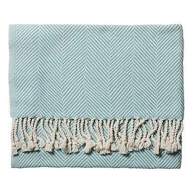 Mist Herringbone Throw - This herringbone throw comes in a range of colors, although I am partial to this robin egg's blue.