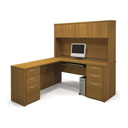 Bestar - Bestar Embassy L-shaped Workstation with 2 Assembled Pedestals in Cappuccino Che - Bestar - Executive Desks - 6087468 - Warm and elegant the Embassy Collection stands out with its versatility. From executive groups to computer work centers Embassy is the answer. Stylish moldings thermofused melamine finish and designer handles are some of the great features offered in this stunning collection by Bestar. This traditional modular collection offers numerous configuration for various use.
